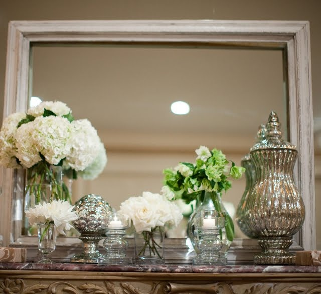Again with the mantel-mirror combo.  This time, HYDRANGEAS. Summer, obvs.
