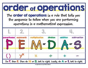 Image result for PEMDAS chart