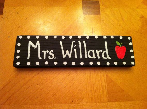 Teacher's Name Desk Sign Door Hanger Class Name Plate on Etsy, $6.50