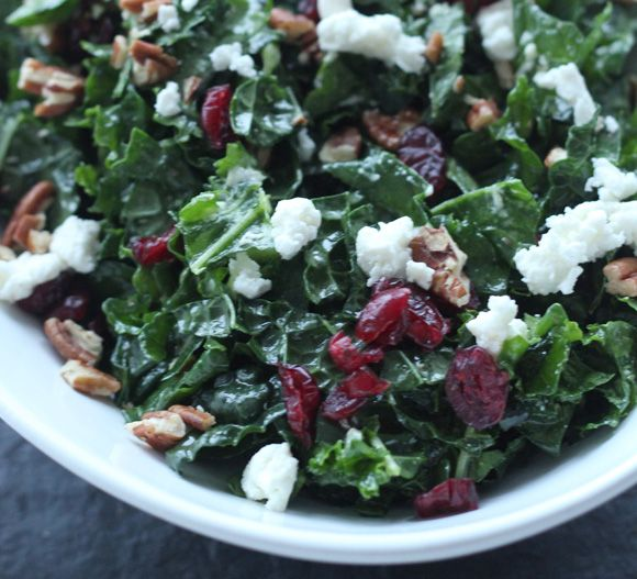 16 Insanely Healthy Recipes That Are Delicious: Kale Salad With Cranberries, Goat Cheese, And Pecans, Etc