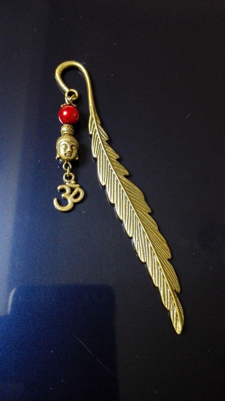 Marque page plume bronze Bouddha et Ohm Zen : Marque-pages par miss-perles
