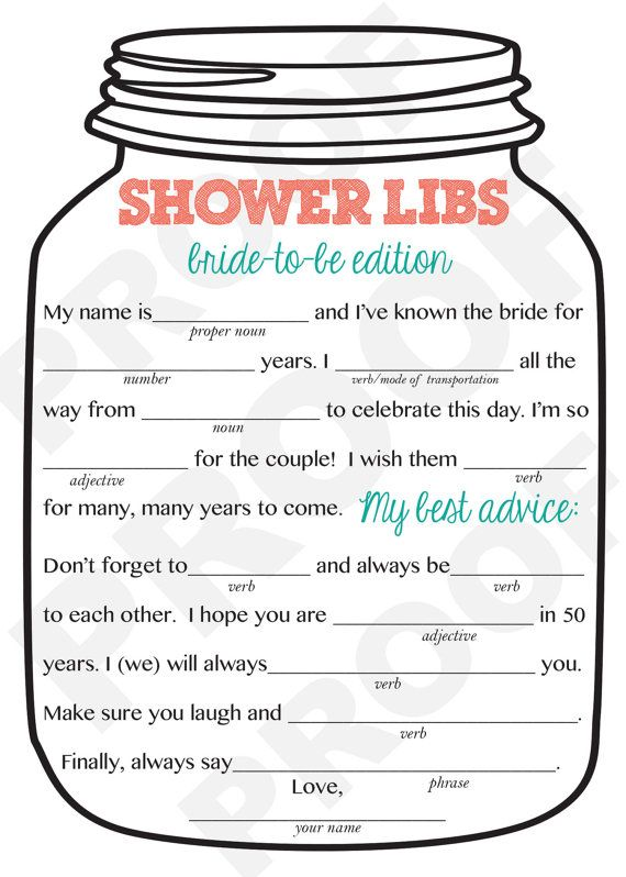 Bridal Shower Game-- Mason Jar Theme Shower Game, Mad Libs ...