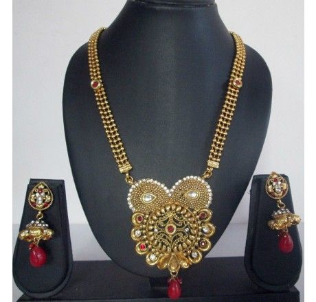 2 Layered Gold Beaded Polki Pearl Necklace Earrings Set - Necklace Sets - Fashion Jewelry
