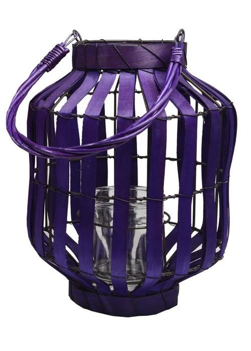"20"""" Tropicalia Deep Purple Cabana Tiki Bar Votive Candle Holder Lantern"
