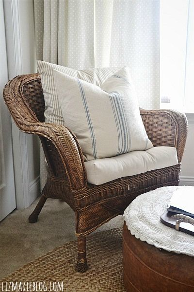 Front Guest Bedroom Makeover Wicker Chair