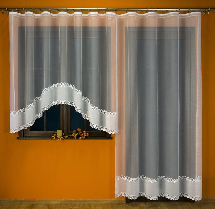 Komplet balkonowy żakardowy - 017350 kol. biały - 160x500cm (160x300cm+250x200cm)