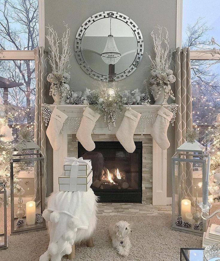 Christmas Decor. White Silver.
