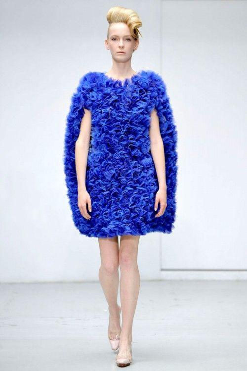 walter van beirendonck blue ruffle fabric manipulation dress