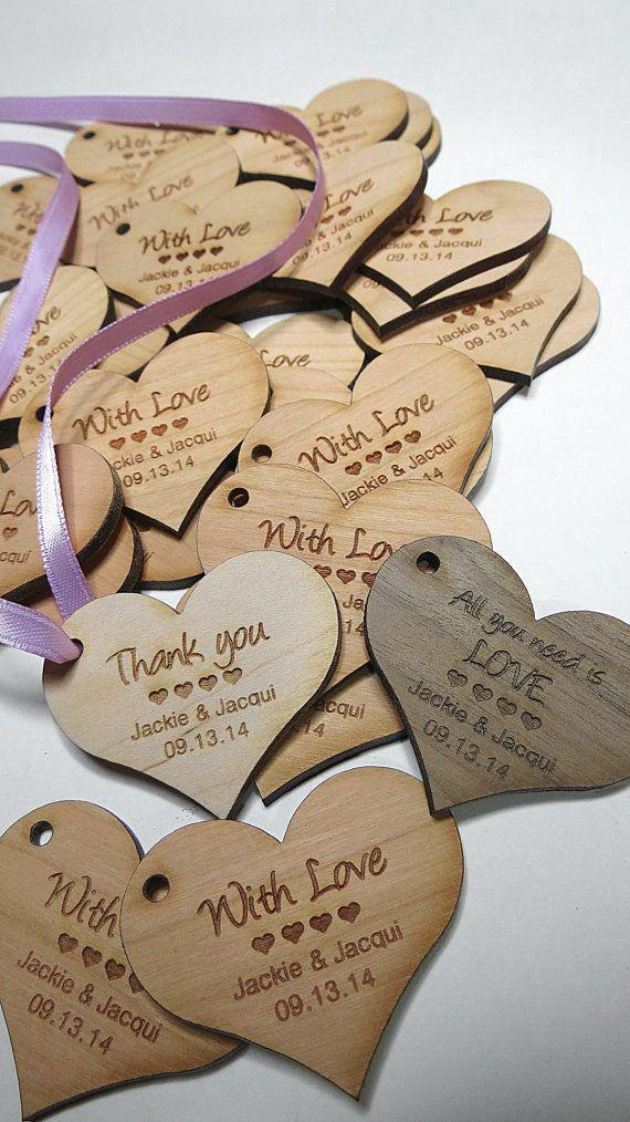 2 x 2 Heart Tags Custom Wedding