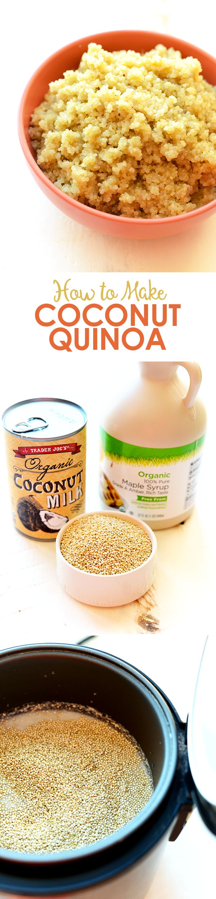 Make this delicious coconut quinoa with just 3 simple ingredients! It's like your classic coconut rice, but made with a complete protein and so much more love!