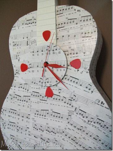 decoupaged guitar clock - use ukulele/drum instead