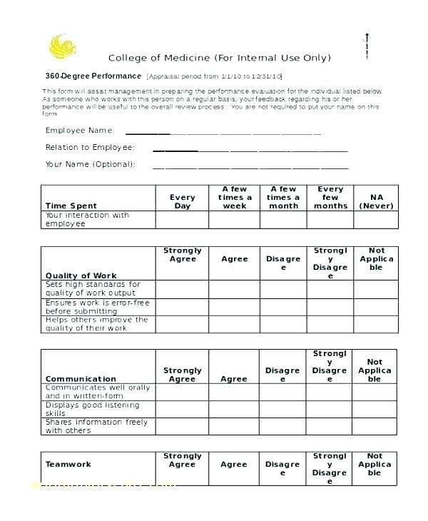 360 Degree Feedback Form Template Performance Appraisal Good Essay 360 Degree Feedback