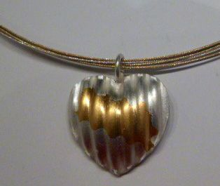 Sterling Silver Heart Pendant Kumboo plated Gold & Silver Collar Necklace by Felicity Peters