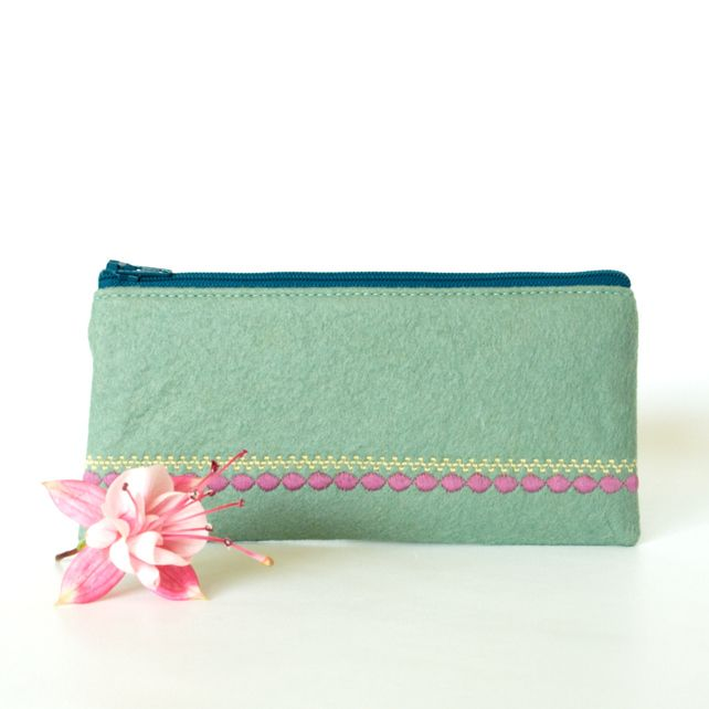 Seafoam Green Felt Wallet with Liberty Lining £15.00