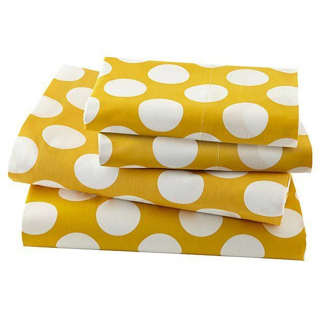 New School Yellow W White Dot Sheet Set Queen The Land Of Nod Wheretobuybedlinen Kids Sheet Sets Kids Sheets Dot Sheet Set