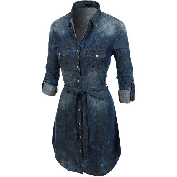 LE3NO Womens Classic Long Sleeve Button Down Chambray Denim Dress ($31) ❤ liked on Polyvore featuring dresses, slimming dresses, chambray dress, blue long sleeve dress, shirt-dress e long sleeve shirt dress