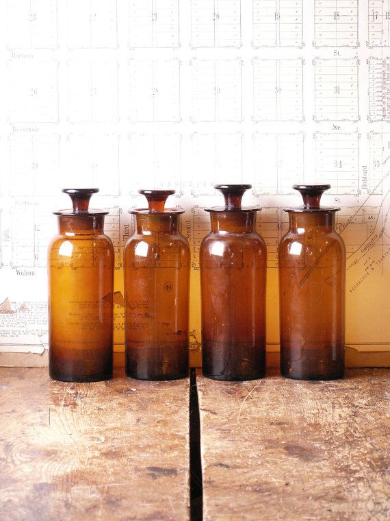 Four Antique Amber Apothecary Bottles with by CopperAndTin on Etsy