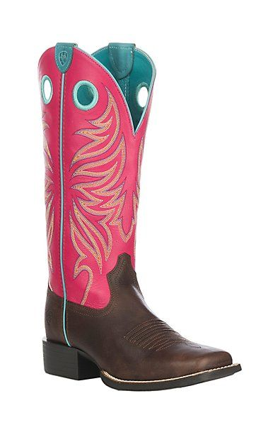 Ariat Women's Yukon Magenta w/ Magenta upper Round Up Ryder Western Wide Square Toe Boots | Cavender's