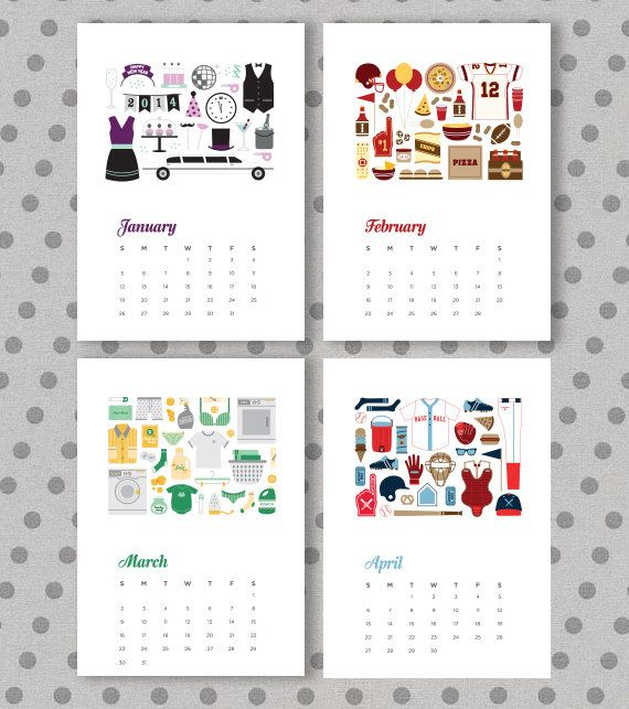 2014 calendar by flowersinmay on Etsy, $12.00