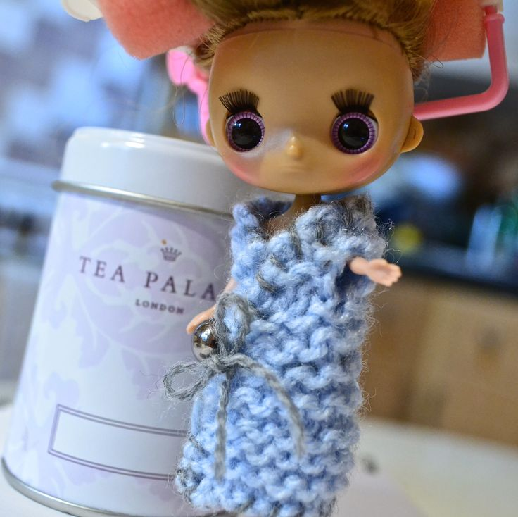 Takara Tomy Dollcena with knitted gown.  More here: https://makedoandmendnovice.blogspot.com/2017/10/knitting-for-dollcena-dolls.html