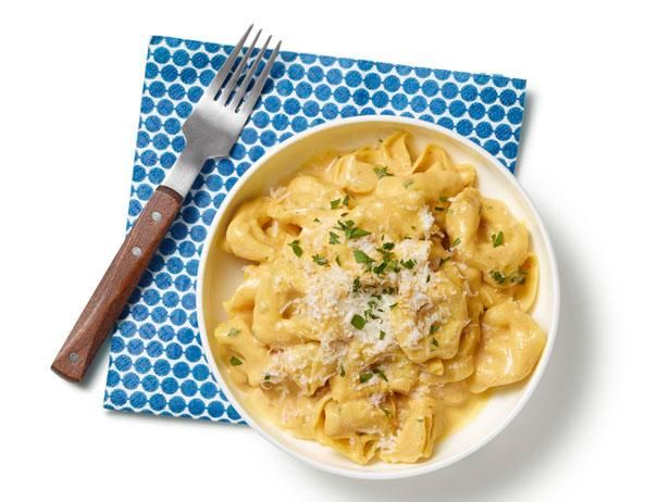 Tortellini with Pumpkin Alfredo Sauce: Adding canned pumpkin to crowd-pleasing creamy Alfredo sauce gives a boost of flavor and nutrients.