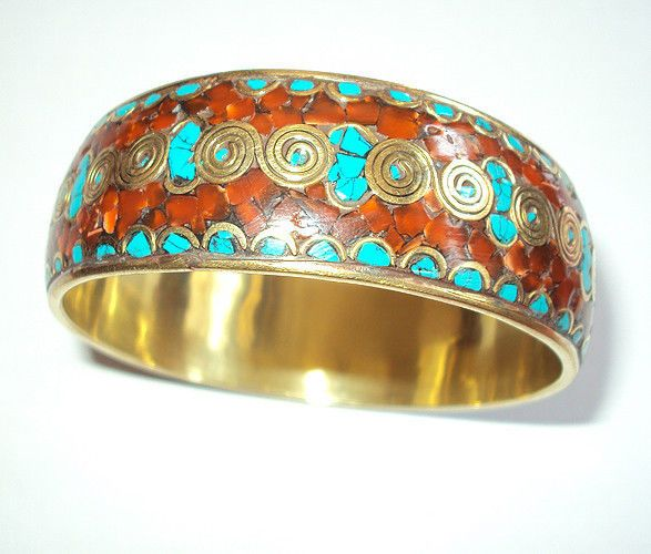 Handmade Turquoise and Coral Round Bangle Bracelet Teal and Red #Handmade #Bangle