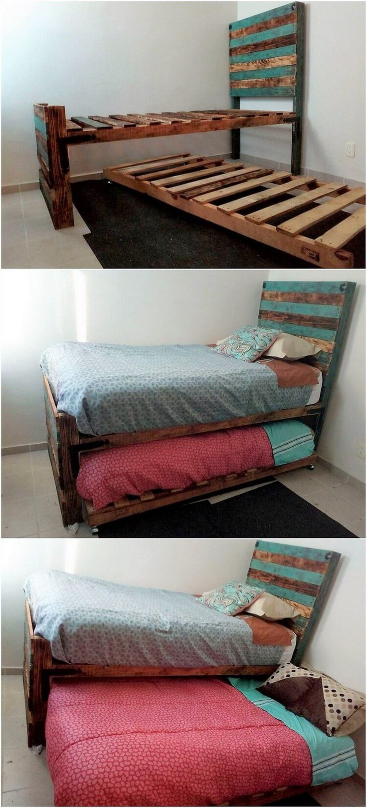 Bringing you up with the creative ideas of wood pallet we have the trendy designed concept of wood pallet double bed design. Square shaped design is completely put into the hues of wood pallet patterns where two beds are attached with one another.
