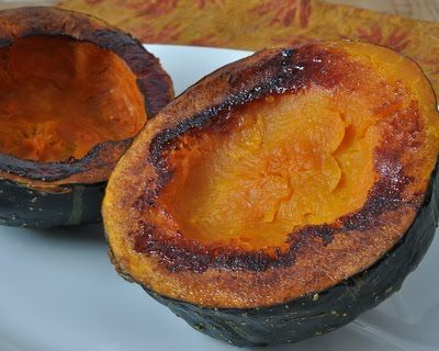 Rub a little oil on the cut edges of the squash and arrange face down on a baking sheet. Bake for 30 - 45 m till squash is down and the cut edges slightly caramelized. Season with salt and pepper.