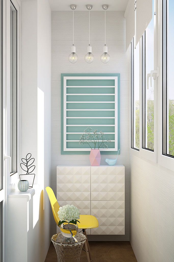 Дизайн балкона в светлых тонах