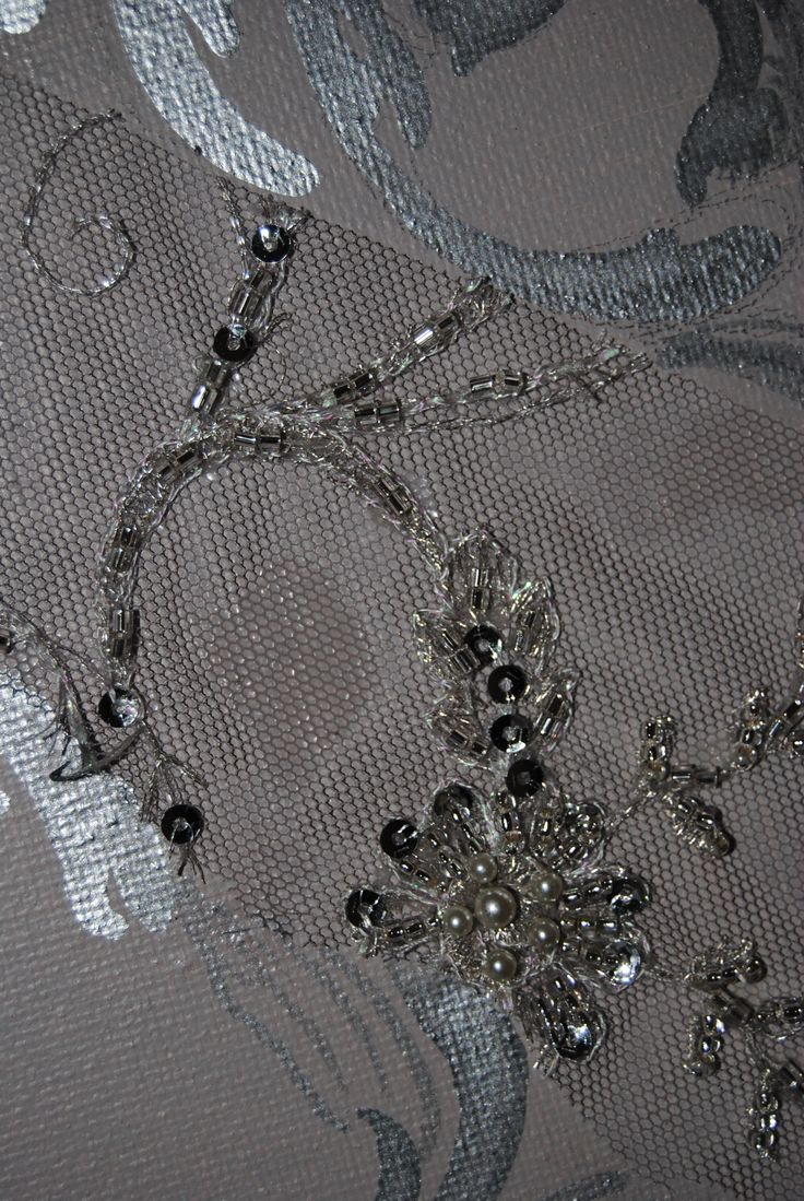 Close up detail with French beaded lace on canvas by Judith Ann.www.beautifulwriting.com.au