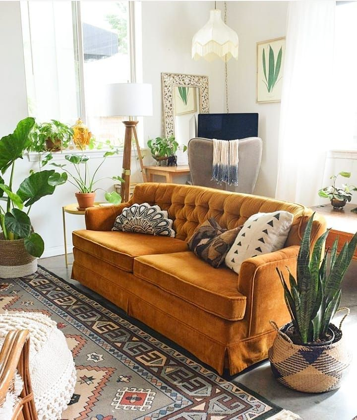 Living Room Interior Design Decoration Mustard Yellow Sofa Couch Eclectic Indoor Plants Bohemian Retro Home Decor Retro Home Living Room Interior