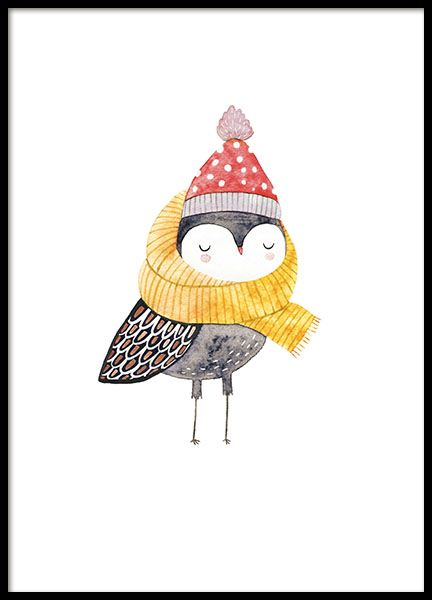 Poster voor de kinderkamer met schattige vogel in mooie en warme outfit. Een ontzettend schattige kinderposter die mooi is in de kinderkamer. In onze categorie Kinderen en Jongeren kunt u meer posters vinden die geschikt zijn voor grote en kleine kinderen. www.desenio.nl