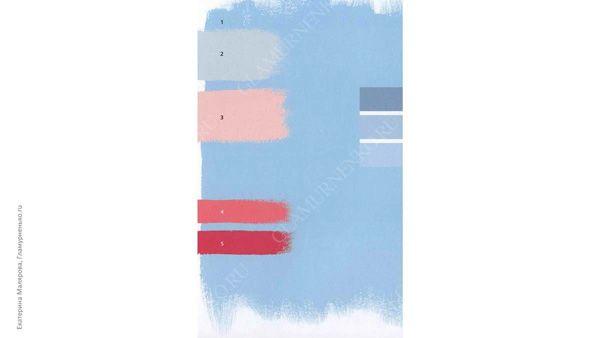 Пример сочетания младенческого голубого с младенческим розовым, светлым серым и оттенком «тутти-фрутти» в одежде для цветотипа лето
