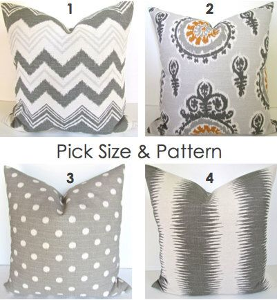 GRAY THROW PILLOWS Gray Pillow Covers Gray Ikat Pillows Gray Chevron pillow Covers Gold Decorative pillows 16x16 18 20  All Sizes by SayItWithPillows on Etsy https://www.etsy.com/listing/193685596/gray-throw-pillows-gray-pillow-covers