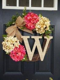 Diy Front Door Wreaths Easy to Make Lovely Summer Wreath Monogram Wreath Hydrangea Wreath Front Door Wreath