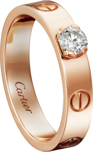 Solitaire Ring Pink gold, diamond