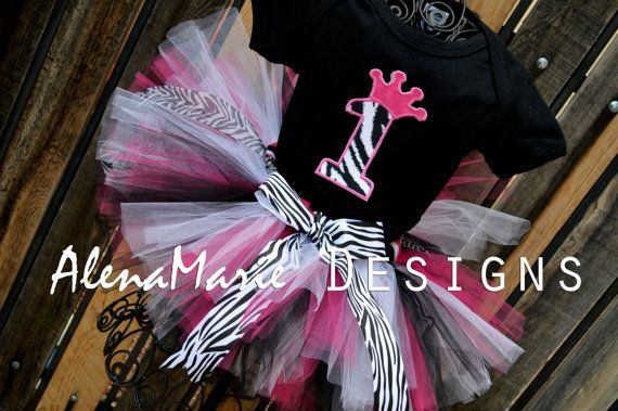 Custom 1st Birthday Crown Zebra Tutu Outfit - Pink, Black & White With Age Crown Number 1