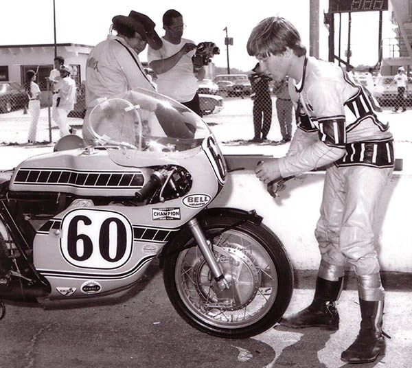 Kenny Roberts preparing for the 1972 Daytona 200
