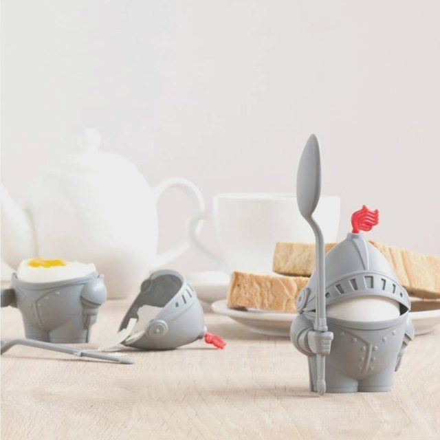 Arthur Egg Cup and Spoon / The Arthur Egg Cup and Spoon is one of the cutest boiled egg holder that provides a warrior spirit to your forlorn breakfast table. http://thegadgetflow.com/portfolio/arthur-egg-cup-spoon/