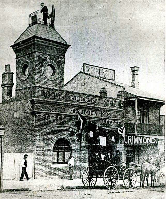 The official opening of Willoughby Fire Station in 1900.Part of the building still remains at 767 Pacific Highway,Chatswood.A♥W