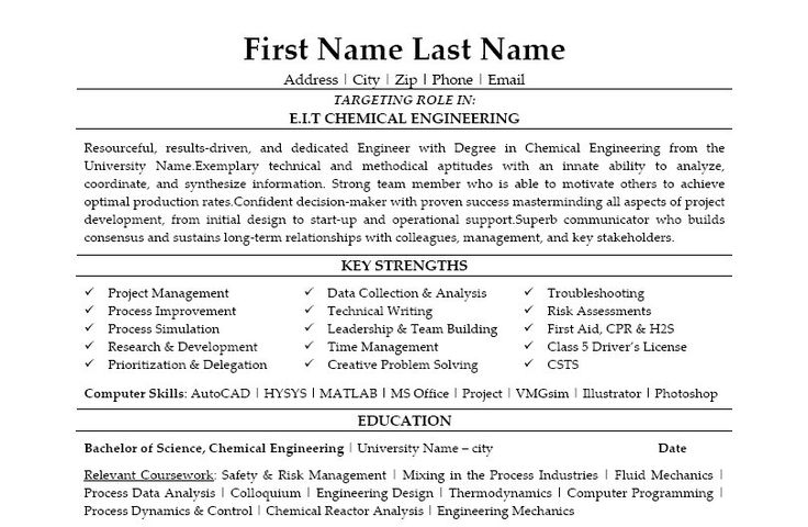 Click Here to Download this EIT Chemical Engineer Resume Template! http://www.resumetemplates101.com/templates.php