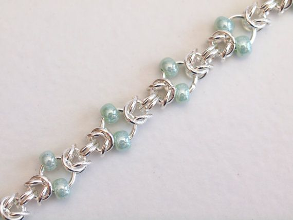 Mint Green Beaded Silver Byzantine Chainmaille by PJsPrettys