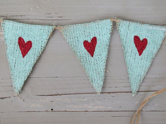 Wow. Love the painted burlap♥ Red Glittered Hearts....Mini Burlap Banner by funkyshique on Etsy