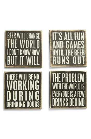 Primitives by Kathy Wood Coasters (Set of 4) available at #Nordstrom for the man cave