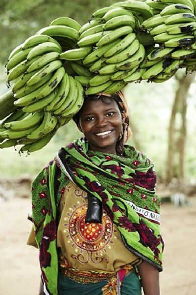 The women of Africa carry food or other things on their heads.