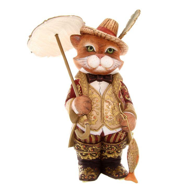 Кот с зонтиком    Деревянная скульптура, ручная роспись      Вес: 638 грамм  Высота: 28 см  Ширина: 18 см  Длина: 10 см  Цена: 1,298.00 €