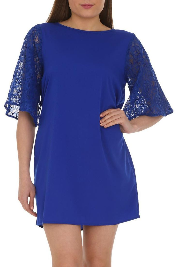 Short Royal Blue Dress with Lace Flared Sleeves | The Design House