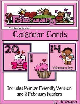 february calendar cards with a header calendar pinterest february calendar calendar themes and header