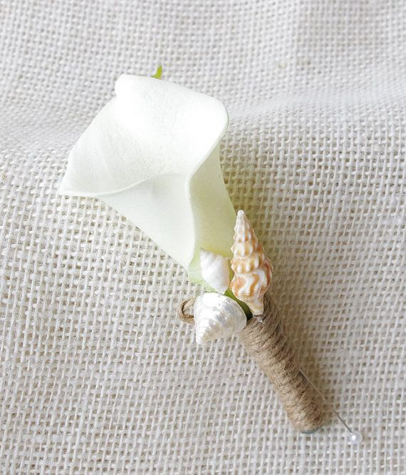 Calla Lily and Beach Seashells Wedding Boutonniere by Wedideas, $10.00