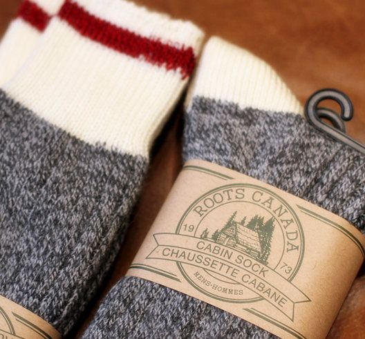 ROOTS Cabin Socks.  I got some as a gift and wear them by themselves or with boots! So warm.